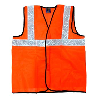 Safety Jackets-Polyester mesh in 1 inch reflective PVC tape in orange color