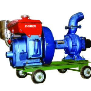 GT Shakti-Diesel Centrifugal Water Pump Set.It is used for agriculture irrigation.It comes with centrifugal water pump, trolley and wheel.Engine is in 4HP.
