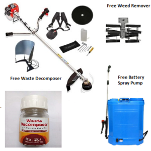 Portable crop harvester+weed remover+waste decomposer+battery sprayer combo pack
